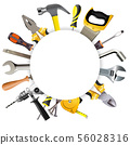Vector Round Frame with Tools 56028316