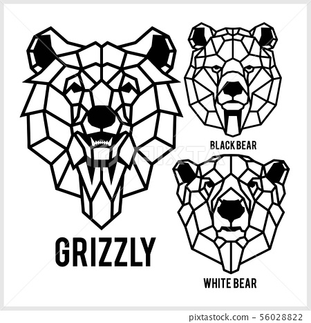 Grizzly, black bear, white bear - animal heads icons. Vector geometric illustrations of wild life 56028822