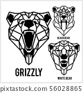 Grizzly, black bear, white bear - animal heads icons. Vector geometric illustrations of wild life 56028865