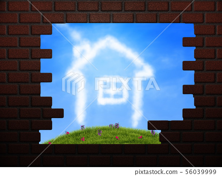Cloud house in hole in brick wall 56039999