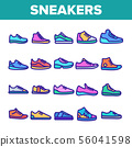 Color Sneakers Thin Line Icons Set Vector 56041598