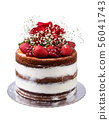 Naked fruit cake with flowers and roses. On a white background. 56041743