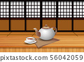 hot tea on the wooden table in japan room 56042059