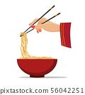 Hands with chopsticks and noodles 56042251