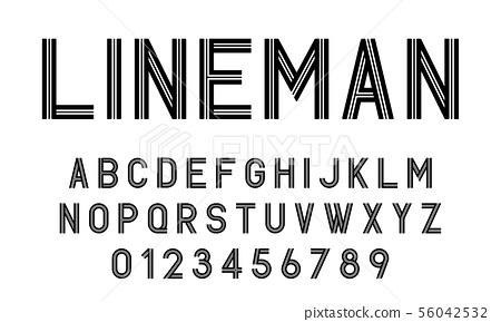Set of alphabets font modern design with lines 56042532