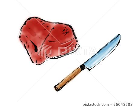 魚塊圓角廚房刀切片圓角三文魚金槍魚手寫美味金槍魚日本 56045588