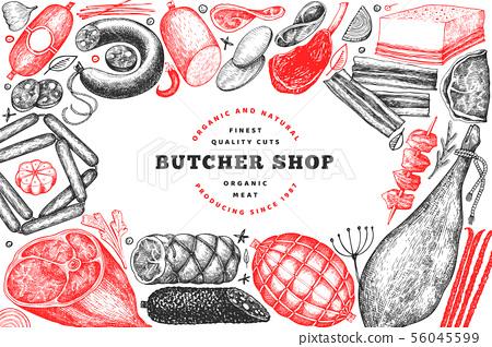 Butcher shop hand drawn vector banner template. 56045599