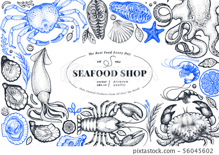 Seafood shop hand drawn vector banner template. 56045602
