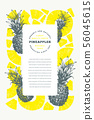 Pineapples design template. Hand drawn vector 56045615