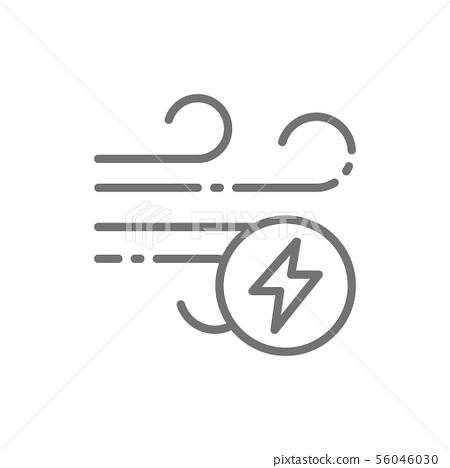 Wind energy, ecology line icon. Isolated on white background 56046030