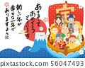 Shichifukujin宝船新年卡新年卡模板 56047493
