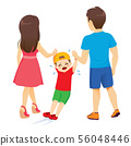 Back view parents dragging rebellious crying child 56048446