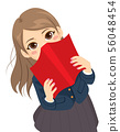 Cute shy student girl hiding behind red textbook 56048454