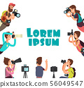 Photographers taking photo. Outdoor photography vector concept 56049547
