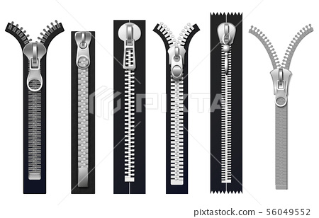 Clothing fasteners, metal zippers isolated vector set 56049552