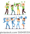 Happy sports fun teams. Group shouting supporting people vector set 56049559
