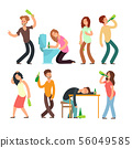 Cartoon man and woman alcoholic. People drunkard in bad situation vector set 56049585