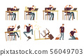 Unhappy businessman in office. Angry, upset and stressed persons, employees vector characters 56049703