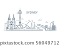 Sydney city line skyline with buildings and architecture showplaces. Australia world travel vector 56049712