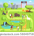 Cartoon zoo with visitors and safari animals. Happy families with kids in zoological park vector 56049758
