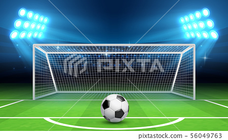 Soccer football championship vector background with sports ball and goals. Penalty kick concept 56049763
