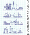 Popular word cities outline panorama on notebook page 56050002
