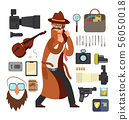Cartoon surveillance detectives with equipment vector set for investigation concept 56050018