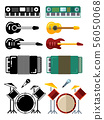 Music instruments, flat silhouettes icons isolated on white background 56050068