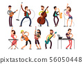 Rock and pop musicians vector cartoon characters. Young guitarists, drummers and singers artists 56050448