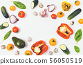 Flat lay food frame of variety of healthy fresh 56050519