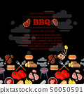 BBQ party poster design with barbeque and meat flat icons 56050591