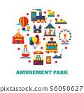 Amusement park icons round concept 56050627