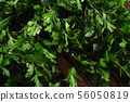 Bunch of fresh green parsley leaves on dark background 56050819