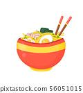 Cartoon ramen bowl. Vector flat  56051015