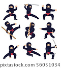 Cartoon funny warriors. Ninja or samurai vector characters 56051034
