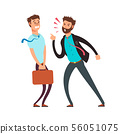 Big angry boss screaming out on employee. Cartoon business vector concept 56051075