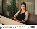 Beautiful pregnant lady in blue dress smile. Tenderness woman walk outside. Six months of pregnancy 56051083