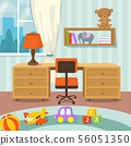 Baby room interior with bed and toys in flat style vector illustration 56051350