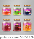 Realistic vector fruit jam glass jars isolated 56051376