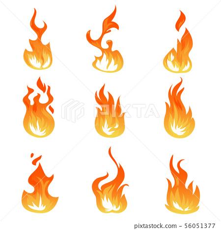 Cartoon fire flames vector set. Ignition light effect, flaming symbols 56051377