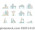 Massage therapy spa physiotherapy vector line medical icons. Therapeutic symbols 56051410