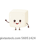 Happy cute smiling funny tofu. Vector 56051424