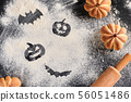 Homemade sweet cakes in shape of pumpkin 56051486