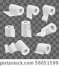 White toilet paper roll and kitchen towels isolated on transparent background 56051599