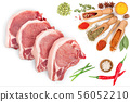 sliced raw pork meat isolated on white background. Top view. Flat lay 56052210