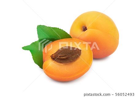 Apricot fruit isolated on white background macro 56052493