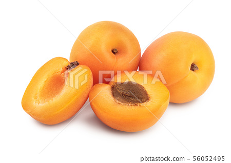 Apricot fruit with half isolated on white background macro 56052495