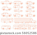 Car body style. Public transport and Passenger Coupe. City bus, heavy truck, Van. Outline Pickup 56052586