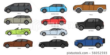 Car body style. Outline Public transport and Passenger Coupe. Outline Pickup, doodle Sedan, color 56052593