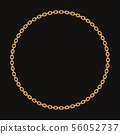 Round frame made with golden chain. On black. Vector illustration 56052737